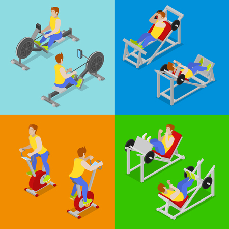 Isometric People at the Gym. Sportsmen Workout. Sports Equipment. Vector flat 3d illustration