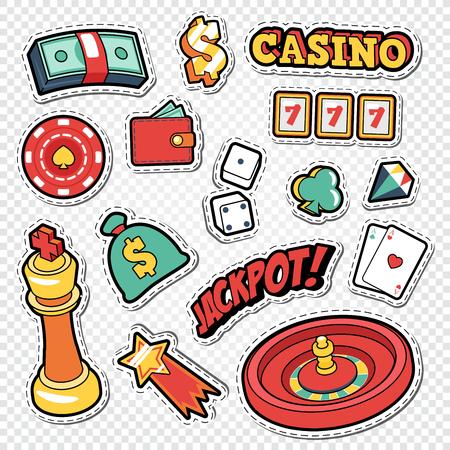 포커 카드와 룰렛 스티커가있는 Csino Gambling Doodle. 벡터 일러스트 레이 션