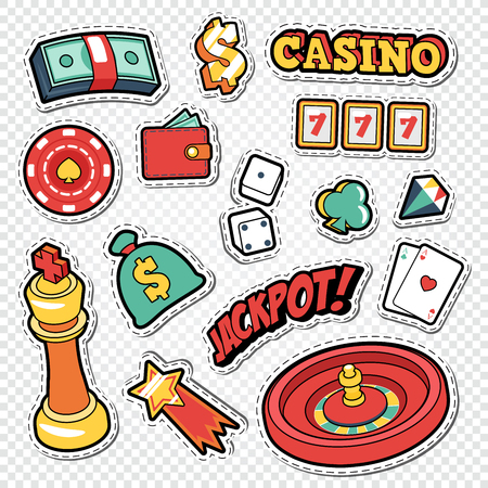 Csino Gambling Doodle with Poker Cards and Roulette Stickers. Vector illustration