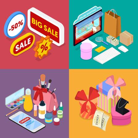 Isometrische online winkelen. Mobiele betaling. Internetwinkel. Elektronisch zakendoen. Vector platte 3d illustratie