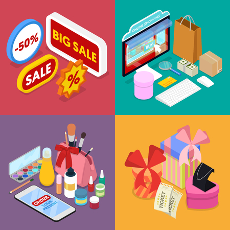 Isometric Online Shopping. Mobile Payment. Internet Store. Electronic Business. Vector flat 3d illustration Illustration