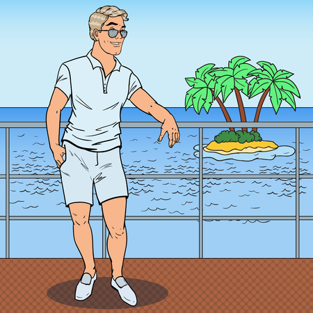 Pop Art Handsome Man Standing on Private Yacht. Tropical Beach Vacation. Vector illustration