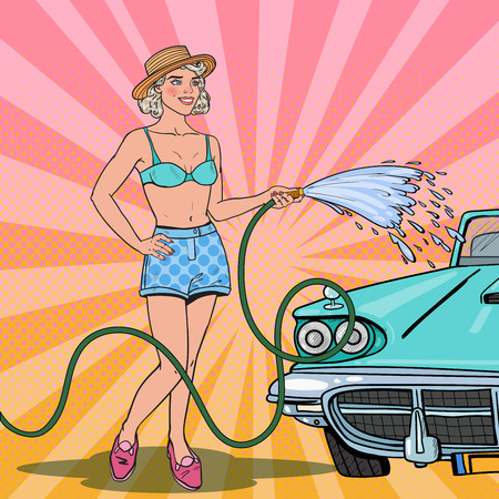 Pop Art Young Pretty Woman Washing Classic Car with Hose. Vector illustration Stock Vector - 82121198