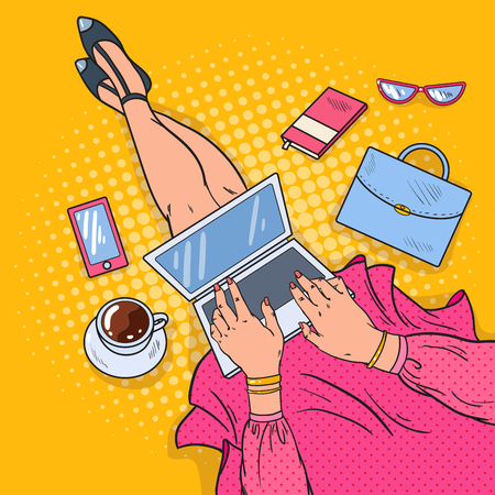 Pop Art Young Woman with Laptop. Work at Home. Vector illustration Stock Illustratie