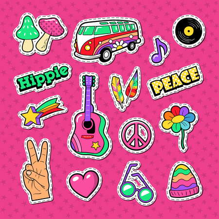 Hippie Fashion Doodle. Stickers, Badges and Patches with Hands and Colorful Elements. Vector illustration