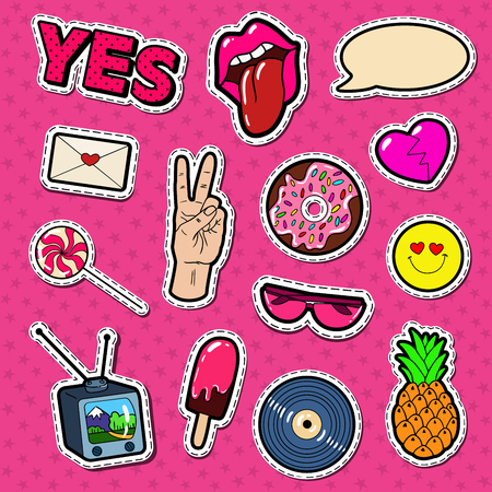 Fashion Stickers and Badges with Lips, Hands and Comic Speech Bubble. Teen Style Doodle. Vector illustration Stok Fotoğraf - 82578040