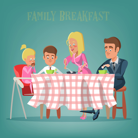 Happy Family Having Breakfast in Kitchen. Mom, Dad, Son and Daughter Eating on the Table. Vector illustration