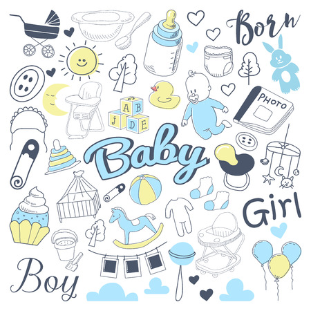 Baby Shower Freehand Doodle. Newborn Hand Drawn Elements Set with Boy and Girl. Vector illustration Ilustracja