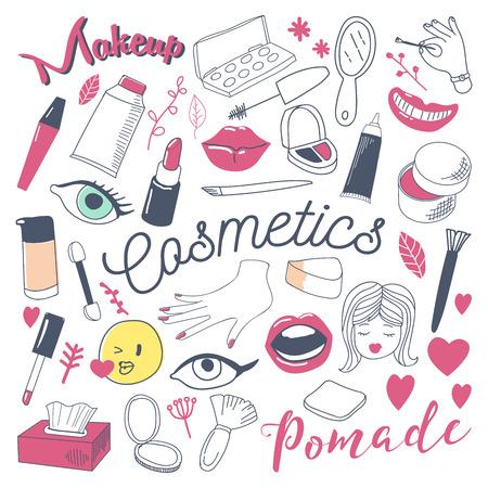 メイクや化粧品美容フリーハンドの落書き。手描きの女性ファッションの要素を設定します。ベクトル図