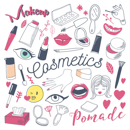 Makeup and Cosmetics Beauty Freehand Doodle. Hand Drawn Woman Fashion Elements Set. Vector illustration