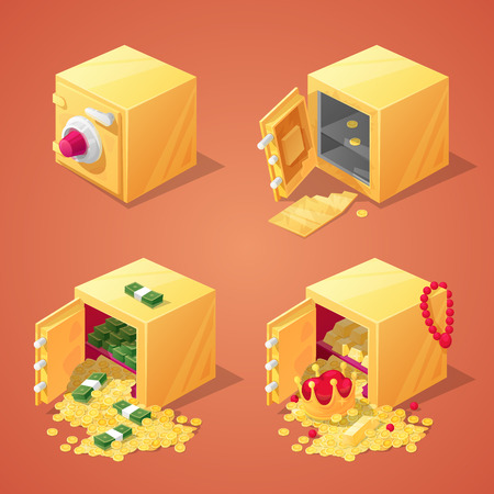 Safe Boxes Set for Game Interface. Money, Gold, Coins and Treasure. Vector illustration