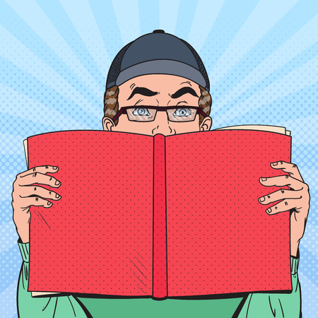 Pop Art Surprised Man Reading Book. Educational Concept. Vector illustration