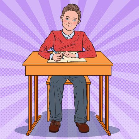 Pop Art Happy Schoolboy Sitting at School Desk. Education Concept. Vector illustration Illustration