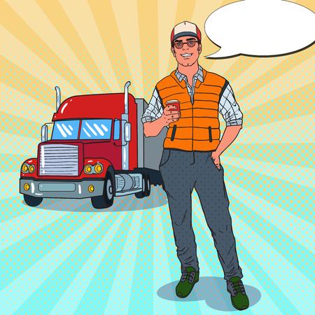 Pop Art Happy Trucker staat voor een vrachtwagen. Professionele bestuurder. Vector illustratie Stock Illustratie