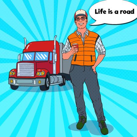 一杯のコーヒーとポップアート幸せトラック運転手。プロのドライバーです。ベクトル図