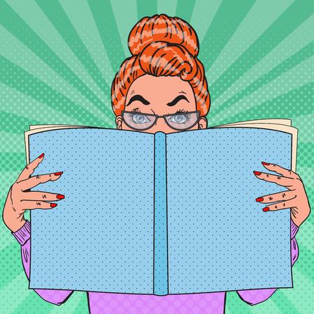 Pop Art Surprised Woman Holding Book. Educational Concept. Vector illustration Çizim