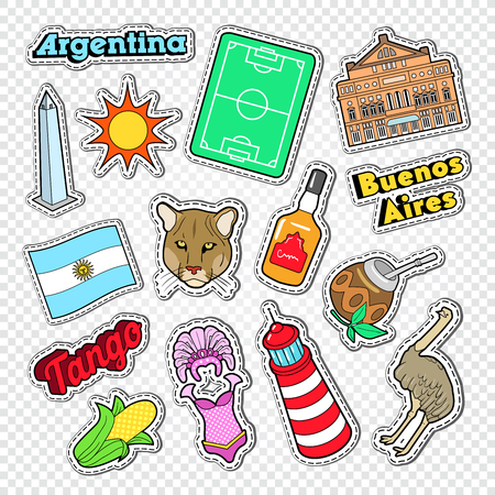 Travel to Argentina Doodle. Argentinian Stickers, Badges and Patches with Animals and Architecture. Vector illustration Vettoriali
