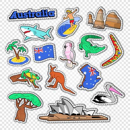 Travel to Australia Doodle. Australian Stickers, Badges and Patches with Map, Animals and Architecture. Vector illustration Illustration