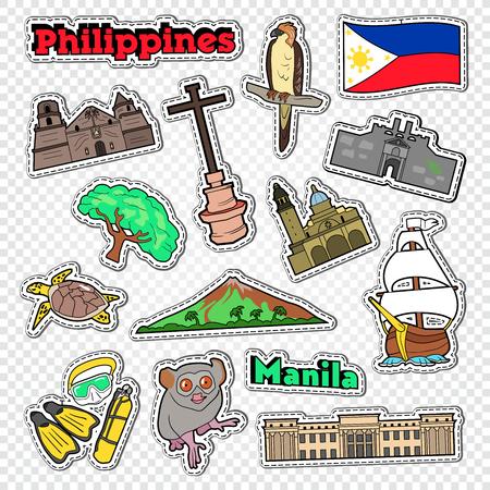 Reis naar Filippijnen. Stickers, insignes en patches met Filipijnse architectuur, dieren en natuur. Vector illustratie