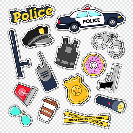 Politieman Stickers en Badges Set met Politiewagen, Gun en Handboeien. Vector illustratie