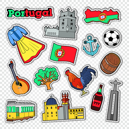 Reis naar Portugal. Stickers, Badges en Patches met Portugal Architectuur en Oriëntatiepunt. Vector illustratie