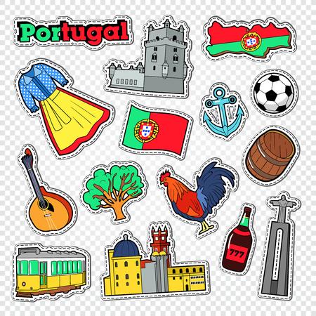 Reis naar Portugal. Stickers, Badges en Patches met Portugal Architectuur en Oriëntatiepunt. Vector illustratie Stockfoto - 82992014