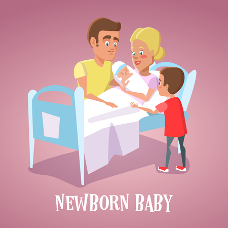 Happy Mother Holding Newborn Baby in Hospital Room. Family Welcomes Newborn Child. Vector illustration