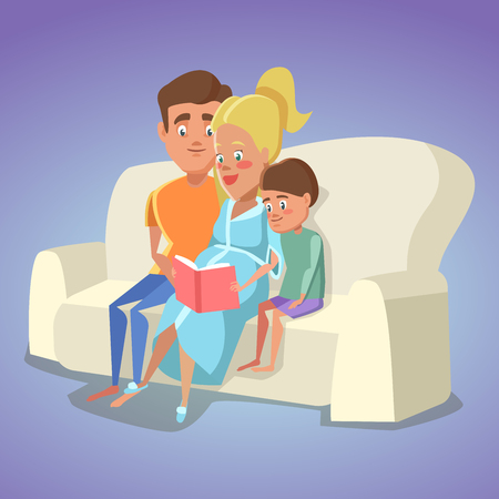 Pregnant Mother and Dad Reading a Book for Son on Sofa at Home. Happy Family. Vector illustration