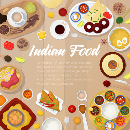Indian Cuisine Menu Template with Chicken, Rice and Curry. Traditional Asian Food. Vector illustration