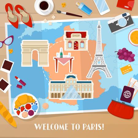 파리 프랑스 여행. 관광 및 휴가 배경지도, 아키텍처 및 여행 아이콘. 벡터 일러스트 레이 션