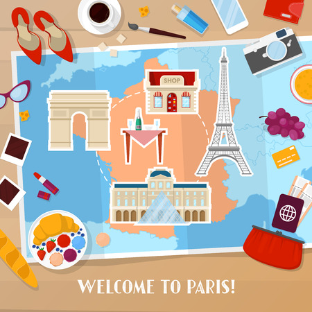 Travel to Paris France. Tourism and Vacation Background with Map, Architecture and Traveling Icons. Vector illustration