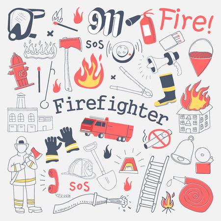 Doodle de pompier à main levée. Pompier avec extincteur et ensemble d'éléments dessinés à la main. Illustration vectorielle