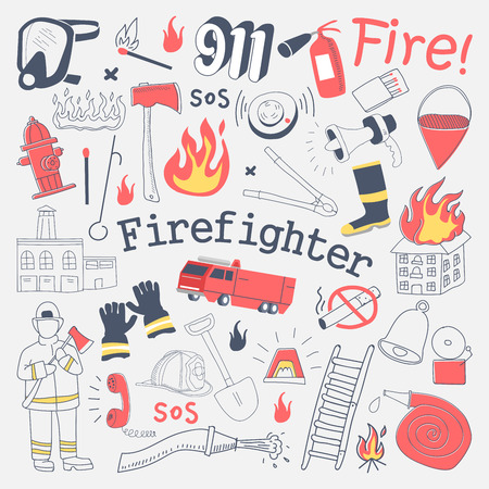 Firefighter Freehand Doodle. Fireman with extinguisher and Equipment Hand Drawn Elements Set. Vector illustration Illustration