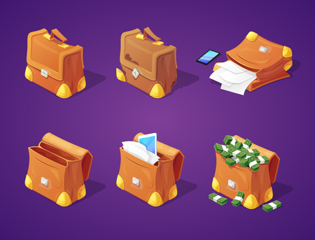 Suitcases with Money, Papers and Devices for Game Interface. Banknotes and Documents Icons. Vector illustration Ilustração