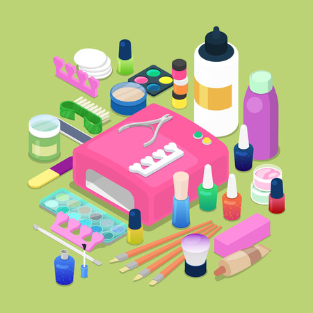 Manicure and Pedicure Isometric Tools. Cosmetics and Accessories. Vector flat 3d illustration Illustration