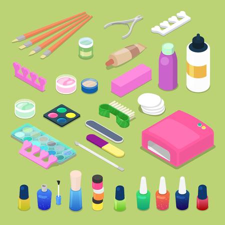 Manicure e pedicure isometrico cuticola cosmetici e accessori illustrazione vettoriale piatta 3d Archivio Fotografico - 82992063