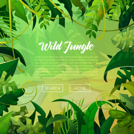 Jungle Banner Tropical Leaves Background. Palm Trees Poster. Vector illustration Çizim