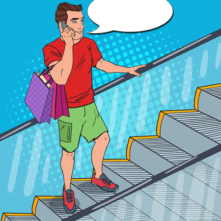 Pop Art Man with Smartphone and Shopping Bags on Escalator. Vector illustration