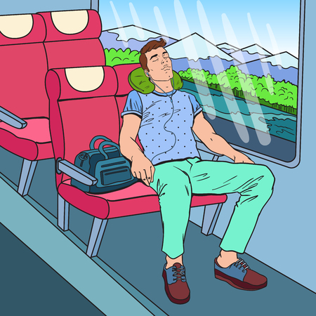 Pop Art Tired Man Sleeping in the Train and Listening Music. Tourism, Summer Travel. Vector illustration