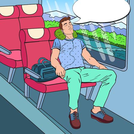 팝 아트 기차에서 자 고 음악 듣기 피곤 된 젊은 남자. 관광, 여름 여행. 벡터 일러스트 레이 션