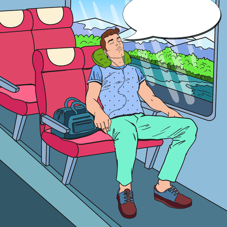 Pop Art Tired Young Man Sleeping in the Train and Listening Music. Tourism, Summer Travel. Vector illustration Ilustração