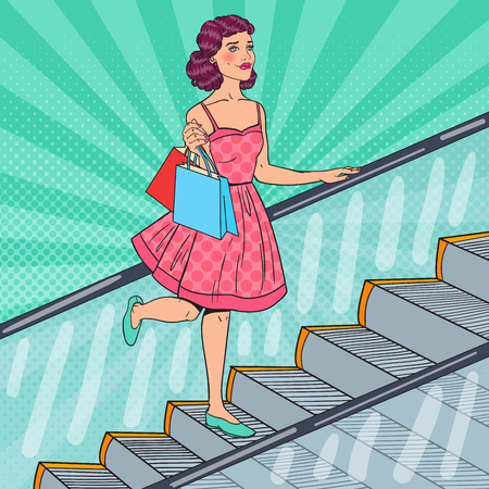 Pop Art Beautiful Woman with Shopping Bags on Escalator. Sale Consumerism. Vector illustration Illustration