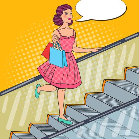 エスカレーターのショッピング バッグと芸術若い女性をポップします。販売の消費者。ベクトル図