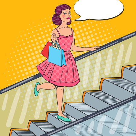 Pop Art Young Woman with Shopping Bags on Escalator. Sale Consumerism. Vector illustration