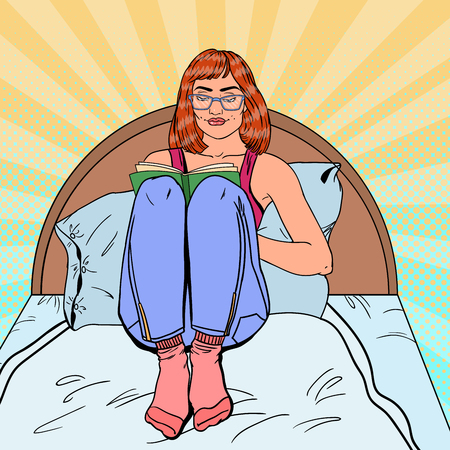 Pop Art Young Woman Reading Book in Bed. Relaxing at Home. Vector illustration Illustration