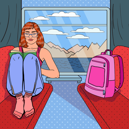 Pop Art Young Woman Reading Book in Train. Time to Travel. Vector illustration