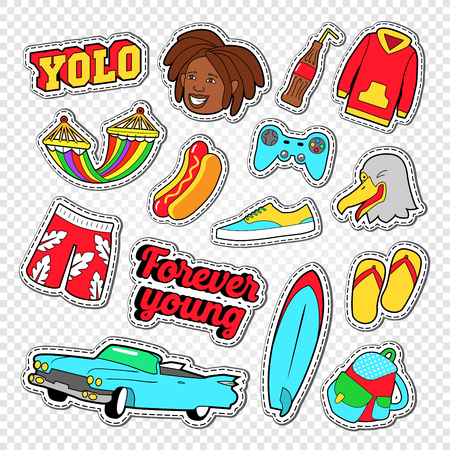 Beach Vacation Stickers with Surf Board. Teenager Lifestyle Doodle. Vector illustration