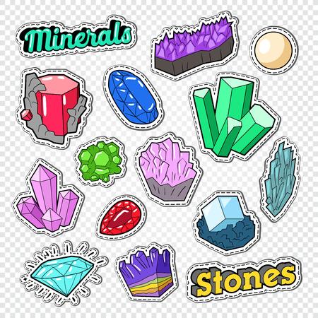 Edelstenenstickers, insignes en patches. Sieradenstenen Doodle met diamant, kristal en mineralen. Vector illustratie