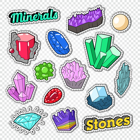 Gems Stickers, Badges and Patches. Jewelry Stones Doodle with Diamond, Crystal and Minerals. Vector illustration