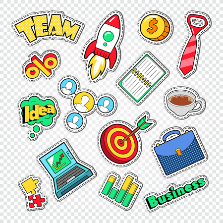 Business Team Work Doodle. Finance and Creative Idea Stickers, Badges and Patches. Vector illustration